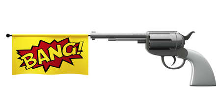 A pistol pointed towards the camera with a flag coming out the barrel that says the word bang on it Stock Photo - 13202828