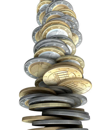 collapse: A stack of Euro coin tender becoming unstable and teetering on collapse