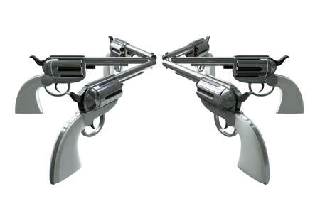 6 handguns all pointing towards each other in a standoff isolated on a white background Stock Photo - 13300824