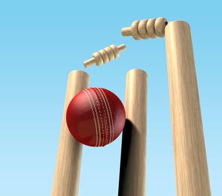 cricket: Un rosso da cricket palla di pelle che colpisce wickets di cricket in legno Archivio Fotografico