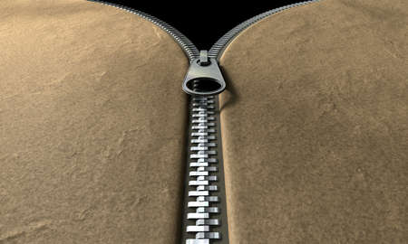 zipped: A perspective view of a leather item with a metal zipper half way zipped up Stock Photo