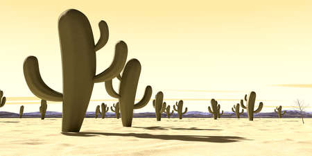 depiction: A 3D depiction of a typical desert with scattered cactus plants and distant mountains