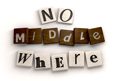 ambiguous: Individual carved out tiled letters with the word middle in wood placed in between the words no and where giving a literal meaning to the term middle of nowhere