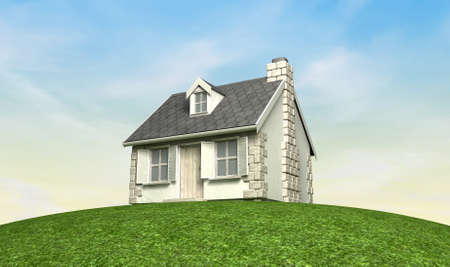country house: A quaint little stone cottage with a brick chimney and wooden shutters on the windows on the peak of a green grassy hill