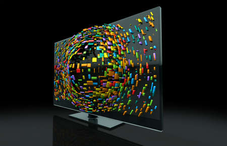 emanating: A 3DTV Television concept of a flat screen LCD or LED TV with colorful fragmented cubes emitting out of the screen towards the viewer Stock Photo