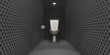 ibs: A crude concept depicting a porcelain toilet with a tissue paper roll located in a room clad in sound proofing with downlighters