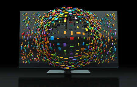 emitting: A 3DTV Television concept of a flat screen LCD or LED TV with colorful fragmented cubes emitting out of the screen towards the viewer Stock Photo