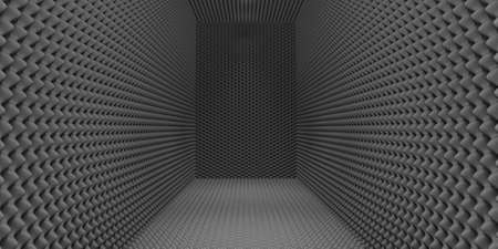 sound proof: A room clad in grey sound-proofing foam