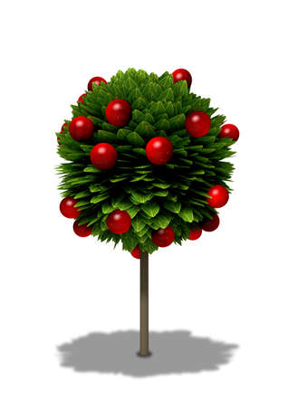 apple tree: A stylized cartoon type standard apple tree with round shaped foliage and red apples on an isolated background Stock Photo