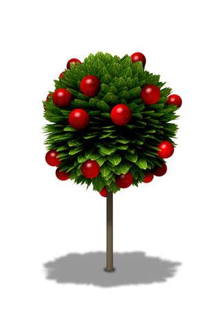 albero di mele: Un cartone animato stilizzato albero di tipo standard di mela con foglie di forma rotonda e mele rosse su uno sfondo isolato Archivio Fotografico