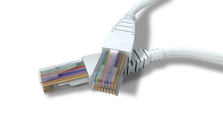 criss: A top view close-up of two criss crossed ethernet plugs on a white background Stock Photo