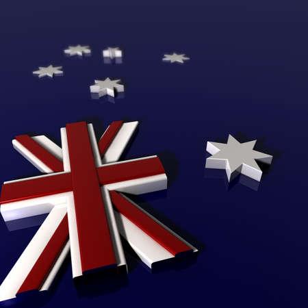 extruded: Una Bandiera Australian National steso su un pavimento bianco con tutti i diversi elementi estrusi in forme tridimensionali nei colori lucidi pertinenti Archivio Fotografico