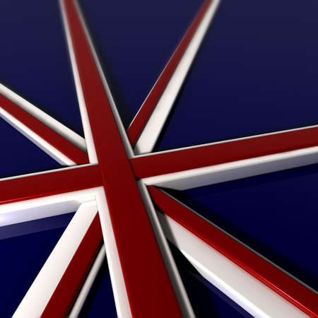 A Union Jack flag laid out on a white floor with all the different elements extruded in three dimensional shapes in the relevant glossy colors Stock Photo - 13853964