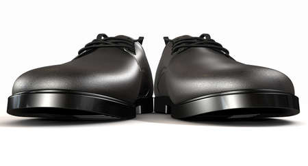 lace up: A pair of formal black leather lace up mens shoes as seen from the extreme front