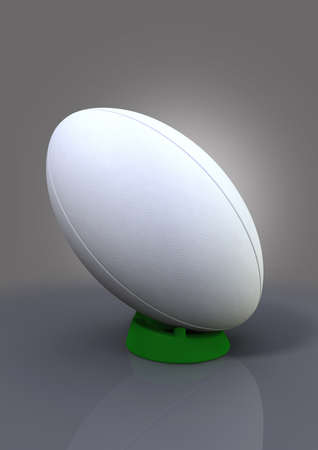 uprights: A plain white textured rugby ball on a blue kicking tee on a plain bacground