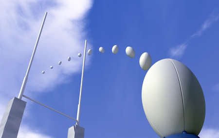 pelota de rugby: Una llanura blanca bola de rugby en un tee para patear al frente de los puestos de rugby con la trayectoria de las bolas trazada a través de los mensajes Foto de archivo