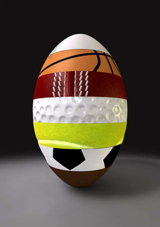 sectioned: A segmented ovoid shaped ball with the different segments representing the sports of rugby, basketball, cricket, golf, tennis, soccer, and football