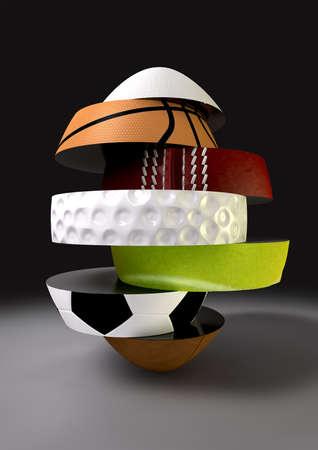 Un segmentado y fragmentado en forma de pelota de forma ovoide con los diferentes segmentos que representan a los deportes de rugby, baloncesto, cricket, golf, tenis, f�tbol y el f�tbol Foto de archivo - 13894933