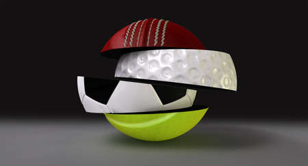 sectioned: A segmented and fragmented round shaped ball with the different segments representing the sports of cricket, golf, tennis and soccer Stock Photo