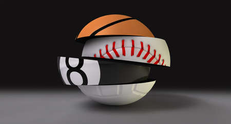 sectioned: A segmented fragmented round shaped ball with the different segments representing the sports of basketball, baseball, snooker and volleyball,