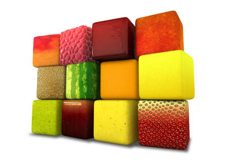A wall of twelve perfect cubes with textures of twelve different real fruits on an isolated background photo