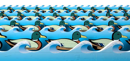 staggered: A literal depiction of carnival shooting alley wooden mallard ducks all in uniform rows in between blue wooden wave cutouts