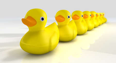 PATO: Una fila de patos de goma amarillos organizados y listos