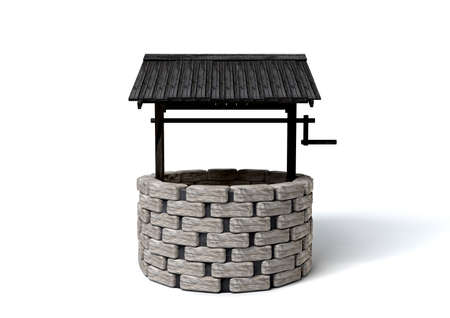 An old school brick well with a rickety wooden roof covering photo
