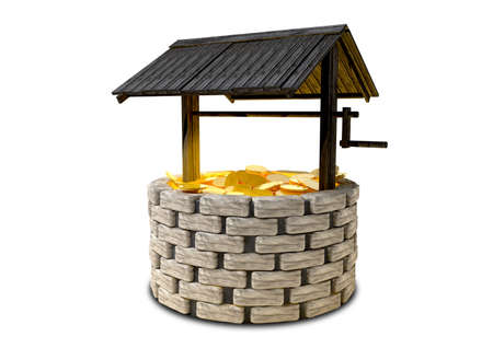 wishing: An old school brick wishing well with a wooden roof covering filled with shining gold coins