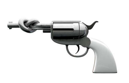 knotted: A side on view of metal revolver with a white grip with its barrel twisted in a simple knot