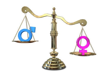 outweighing: A gold justice scale with the two different gender symbols on either side with the male symbol outweighing the female one