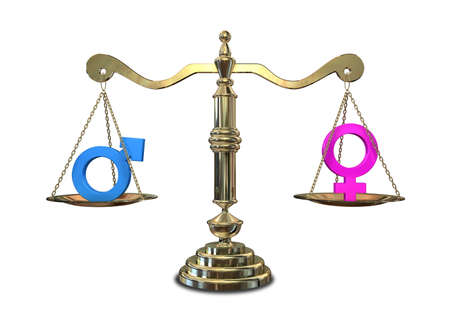 gender symbol: A gold justice scale with the two different gender symbols on either side balancing each other out