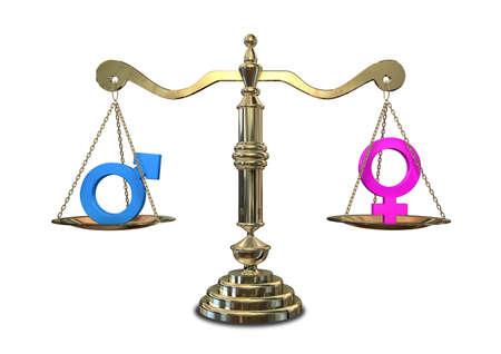 Eine goldene Waage der Gerechtigkeit mit den zwei unterschiedlichen Geschlechts Symbole auf beiden Seiten sich gegenseitig auf Ausgleich