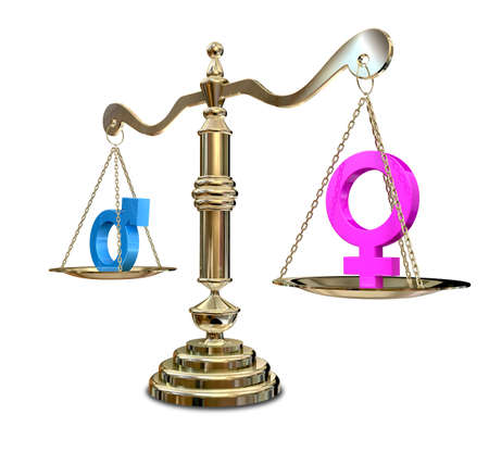 unfairness: A gold justice scale with the two different gender symbols on either side with the male symbol outweighing the female one