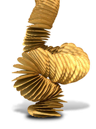 disintegrating: A crumbling stack of wavy cut traditional potato chips on a white background  Stock Photo