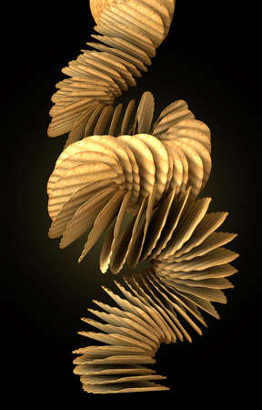 disintegrating: A crumbling stack of wavy cut traditional potato chips on a black background