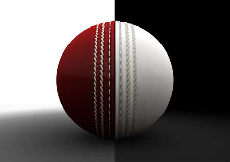 formats: A traditional cricket ball with each hemispheres color representing the two different formats of the game