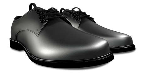 lace up: A pair of formal black leather lace up mens shoes