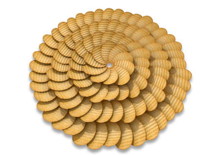 disintegrating: A circular pattern of wavy cut traditional potato chips on a white background Stock Photo