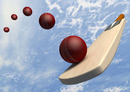 A floating cricket bat hitting a red leather cricket ball along a curve against a blue sky photo