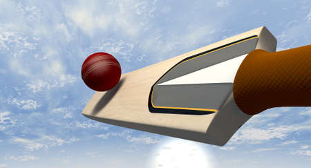 cricket game: A floating cricket bat hitting a red leather cricket ball against a blue sky