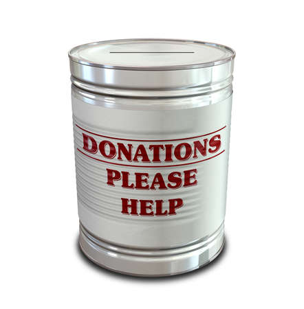 plea: An everyday tin can transformed into a donation box with a coin slot and a label that reads donations please help Stock Photo