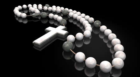 interspersed: A stone beaded rosary interspersed with marble beads and a stone and marble crucifix