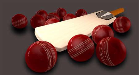 cricket bat: A cricket bat lying down surrounded by 13 red leather cricket balls