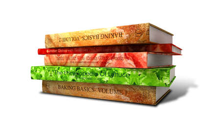 likeness: Various books that make up the ingredients and when stacked together represent and bacon lettuce and tomato sandwich