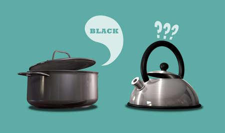 literal: A literal depiction of an almost black cooking pot calling a shiny metal kettle black