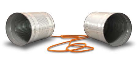 A pair of homemade telephones made from tin cans and connected wth a red cord Stock Photo - 14232182