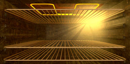 An upclose look inside an operating household oven with an element and shelving Stock Photo - 14226753