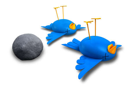 once: Two cartoon style blue birds with orange beaks apparently dead and belly-up next to a grey stone