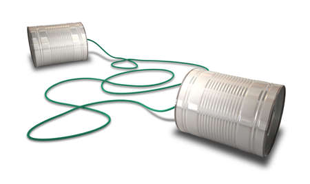 linked: A pair of homemade telephones made from tin cans and connected wth a green cord Stock Photo